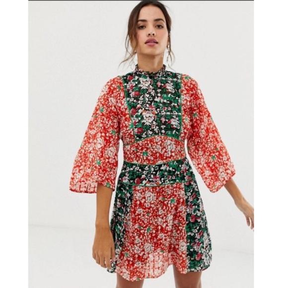 NWT ASOS 70s Mixed Print Mini Dress size 6